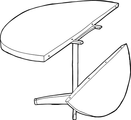 round table: Outline of round table with extendable half on side