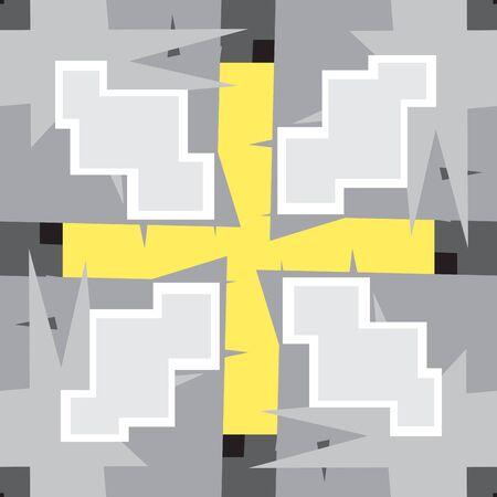 8bit: Seamless pattern grigio di forme 8-Bit e pi� simbolo Vettoriali
