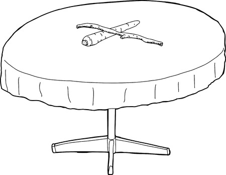 Outline cartoon of carrot and stick on table
