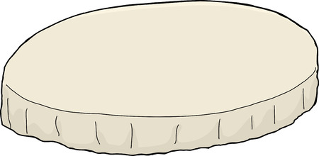 Single cartoon round tablecloth over white background