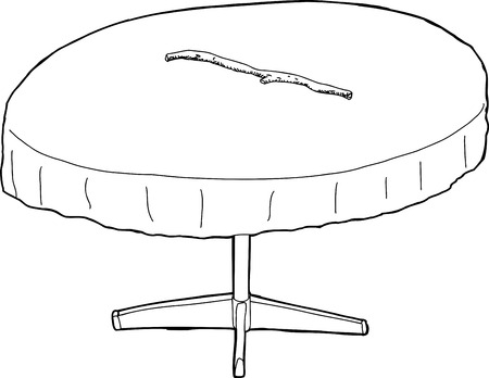 branch cut: Illustration outline of round table with stick on top