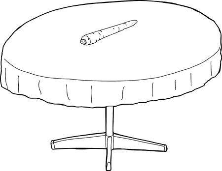 Geschetst ronde tafel met enkele wortel op de top