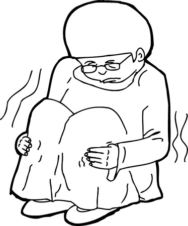Hand drawn illustration of shivering child with eyeglasses