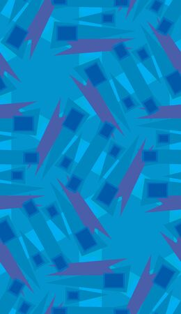 Repeating wrapping paper pattern of blue rectangles and triangles