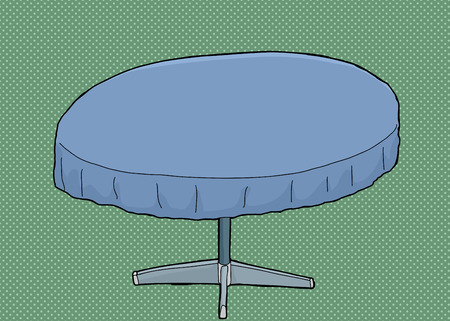 Single cartoon round table with blue tablecloth over green
