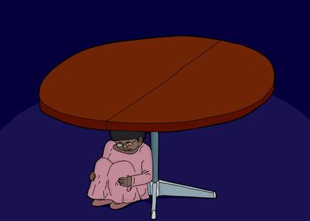 Scared girl hiding underneath a round table Иллюстрация