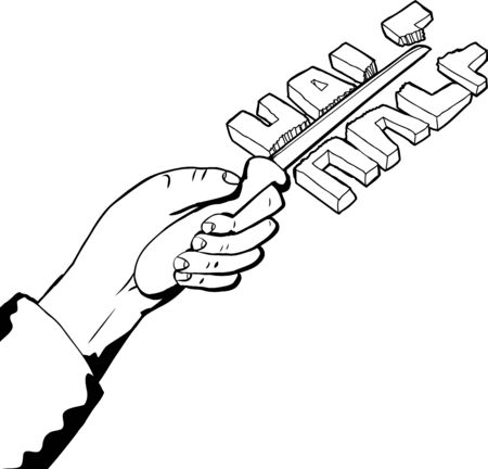 defective: Outline illustration of hand cutting word in half with knife