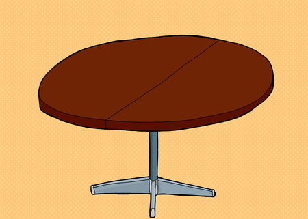 Single cartoon wooden round table with partition