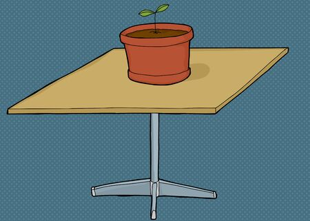 Single houseplant on top of square table Иллюстрация