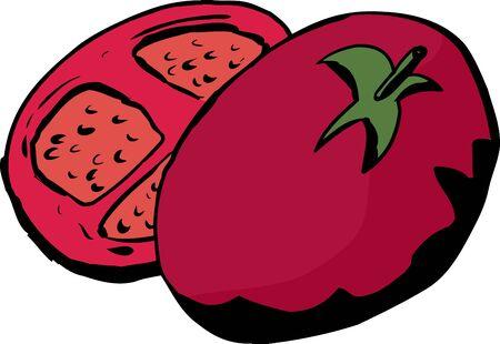 Cartoon of tomato half over white background