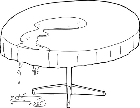spilled: Outlined illustration of spilled water dripping off of table Illustration