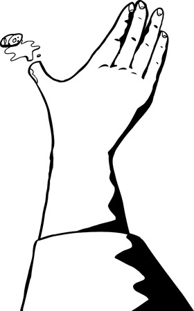 cut outs: Outline close up of severed bleeding thumb Illustration