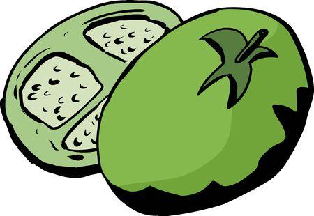 白い背景の上の緑のトマトの漫画