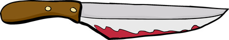 Single bloody carving knife over white background