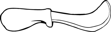 skinning: Outlined skinning knife over isolated background Illustration