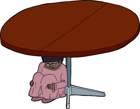trembling: Frightened girl hiding under a round table