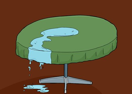 spilled: Illustration of spilled water dripping off of table Illustration