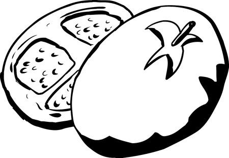 Outline illustration of sliced tomato over white background Çizim