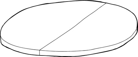 Single cartoon outline of round tabletop with partition
