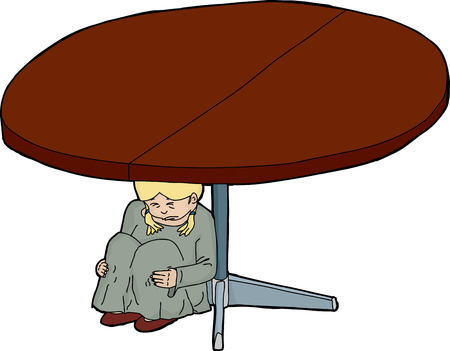 Illustration of crying child underneath a round table