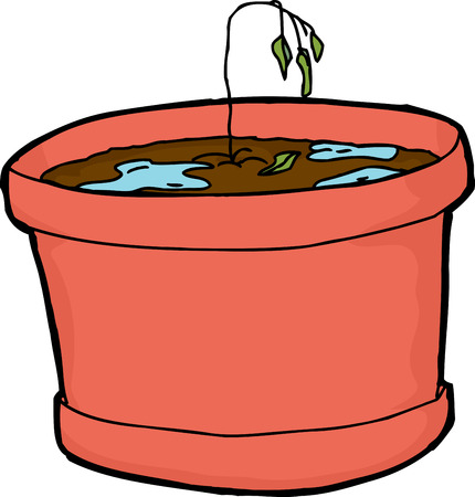 excess: Isolated cartoon over-watered houseplant with wilted seedling