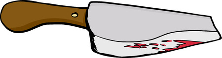 cleaver: Single bloody meat cleaver drawing over white background