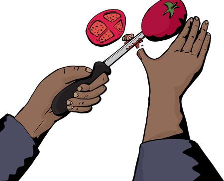 Isolated illustration of hand cutting thumb and tomato Illustration