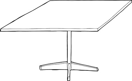 outlined isolated: Outlined isolated table illustration over white background