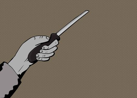 Illustration of human hand holding kitchen knife