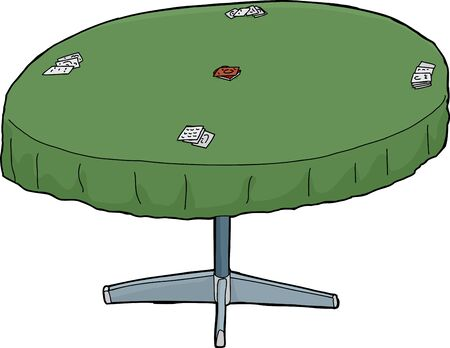 sketch out: Isolated illustration of green gambling table with cards Illustration