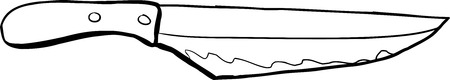 Outlined stained carving knife over white background