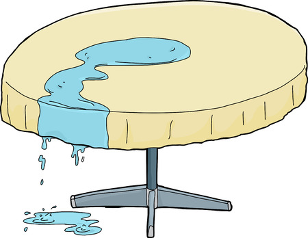sketch out: Isolated illustration of spilled water dripping from table