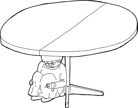 cowering: Outline of shaking child under a table