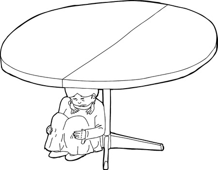 weeping: Outlined cartoon of child weeping under table