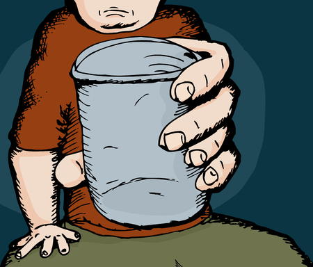 alcoholism: Cartoon sketch of person holding a cup Illustration