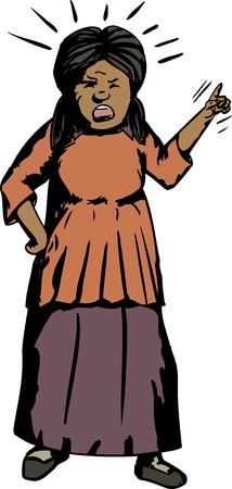 ispanico: Cartone animato di Angry donna ispanica indice che punta il dito