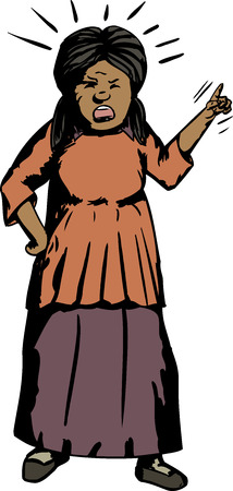 Cartoon of Angry Hispanic woman pointing index finger Illustration