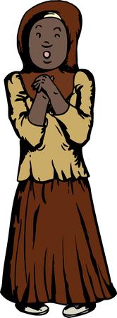 teenaged girl: Cartoon of worried Muslim teenaged girl on white background