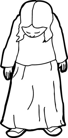 woman looking down: Outline drawing of single shy female looking down