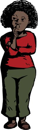 Isolated cartoon of serious Black woman thinking