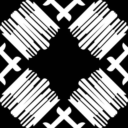 black lines: Seamless tile pattern of white lines over black