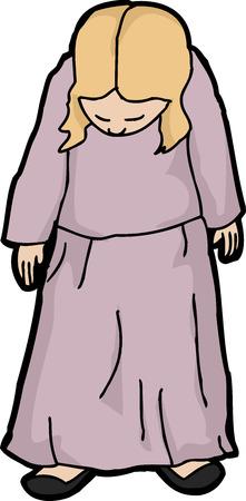 looking down: Cartoon of single depressed female looking down