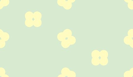 floret: Seamless pattern of little yellow florets over green