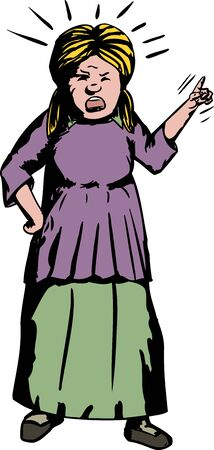 dedo indice: Historieta de la mujer ultrajada dedo �ndice apuntando