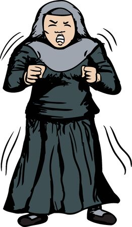 Cartoon of trembling Muslim woman with clenched fists Иллюстрация