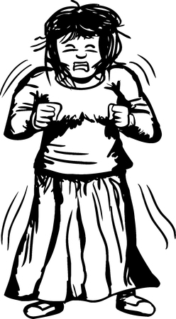 Outline of trembling furious woman with clenched fists