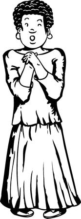 uncomfortable: Outline illustration of single scared African teenager Illustration