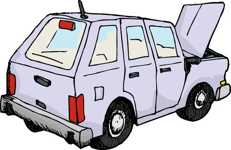 sketch out: Rear view of sketched car with open hood