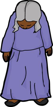 Single mature depressed female looking down illustration