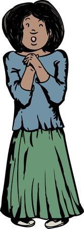 ispanico: Cartone animato di donna ispanica con un'espressione intimidita Vettoriali